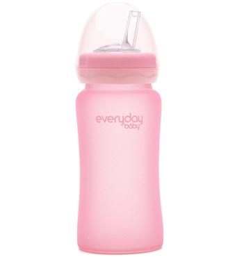 Фото-1 Бутылочка-поильник EveryDay Baby с трубочкой из стекла 240 мл светло-розовая