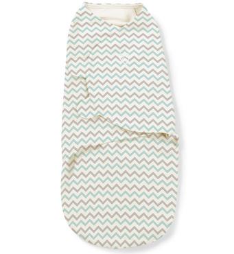 Фото-1 Конверт для пеленания на липучке Teal Chevron (белый с зиг-загами), размер S/M