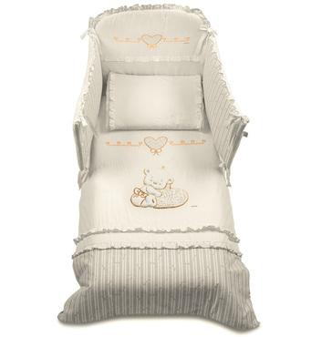 Фото-1 Комплект постельного белья для кроватки Italbaby Love крем