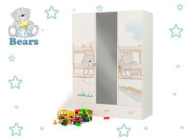 Фото-1 Трёхдверный шкаф с зеркалом Мишки Адвеста (Bears Advesta)