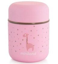 Фото-1 Термос Miniland Silky Thermos Mini для еды с сумкой розовый, 280 мл