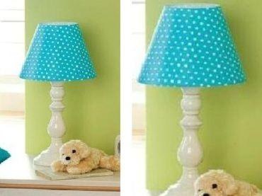 Фото-1 Лампа настольная (голубая, в белый