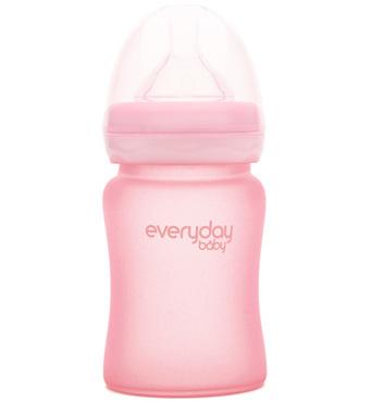 Фото-1 Бутылочка EveryDay Baby с силиконовым покрытием из стекла, 150 мл, светло-розовый