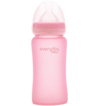 Фото-1 Бутылочка EveryDay Baby с силиконовым покрытием из стекла 240 мл светло-розовая