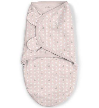Фото-1 Конверт для пеленания на липучке SwaddleMe Pink Peaks (розовый с белыми треугольниками), размер S/M