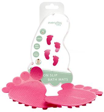 Фото-1 Коврики для ванной EveryDay Baby с индикатором температуры, 4 шт. розовые