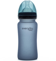 Фото-1 Бутылочка EveryDay Baby с индикатором температуры из стекла 240 мл черничная