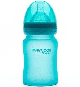 Фото-1 Бутылочка EveryDay Baby с индикатором температуры из стекла 150 мл бирюзовая