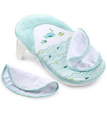 Фото-1 Складной лежак для купания Summer Infant Bath Sling с махровыми накладками бело-голубой