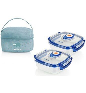 Фото-1 Термосумка Pack-2-Go Hermisized с 2 вакуумными контейнерами, 2х330 мл голубая