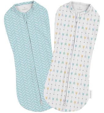 Фото-1 Конверты для пеленания новорожденных на молнии SwaddlePod стрелы/бирюзовый (2 шт.)