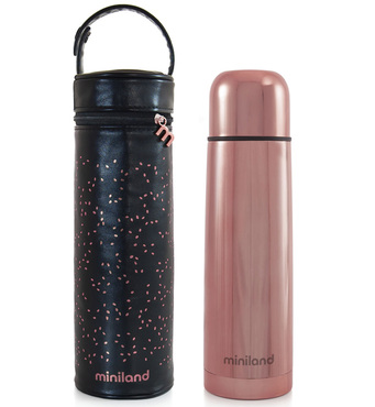 Фото-1 Термос для жидкостей Miniland Deluxe с сумкой 500 мл бронзовый