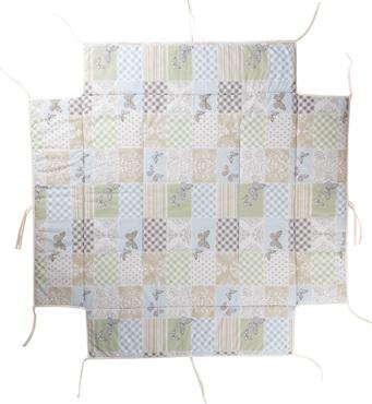 Фото-1 Мягкий бампер для манежа Lucilee цвет 104 (бело-бежевый с бабочками и узорами)