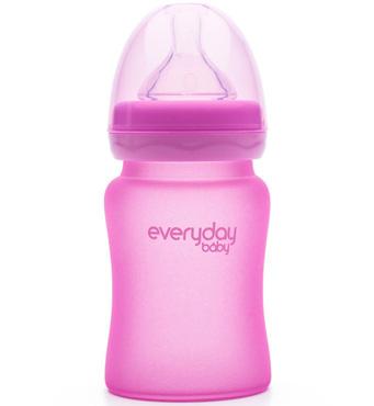 Фото-1 Бутылочка EveryDay Baby с индикатором температуры из стекла 150 мл розовая