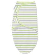 Фото-1 Конверт на липучке Swaddleme Sweet Stripes (серо-зеленые полоски), размер S/M