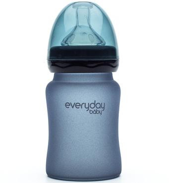Фото-1 Бутылочка EveryDay Baby с индикатором температуры из стекла 150 мл черничная