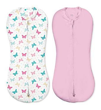 Фото-1 Конверты для пеленания новорожденных на молнии SwaddlePod бабочки/розовый (2шт.)