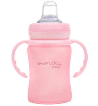 Фото-1 Бутылочка-поильник EveryDay Baby с мягким носиком из стекла 150 мл светло-розовая