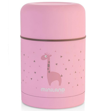 Фото-1 Термос Miniland Silky Thermos для еды с сумкой розовый, 600 мл