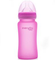 Фото-1 Бутылочка EveryDay Baby с индикатором температуры из стекла 240 мл розовая