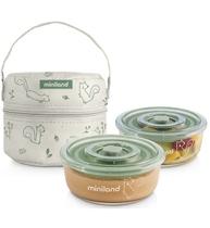 Фото-1 Термосумка Miniland Pack-2-Go Naturround с 2 вакуумными контейнерами, 2х330 мл бурундуки