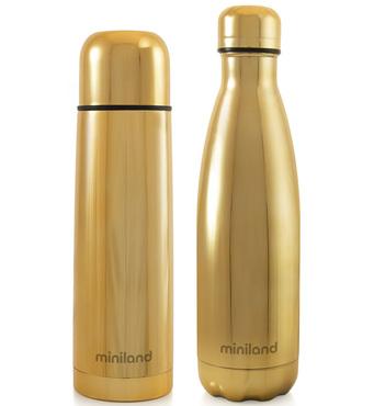Фото-1 Набор Miniland MyBaby&Me (термос, термобутылка) 500 мл золотой