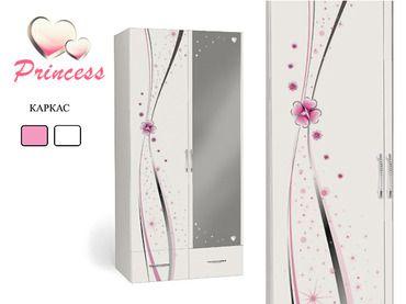 Фото-1 Двухдверный шкаф с зеркалом Принцесса Адвеста (Princess Advesta)