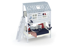 Фото-1 Кровать-домик из дерева Белый Кит
