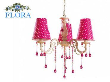 Фото-1 Потолочный светильник Flora Cilek AKS-6300 (розовый в белый горошек)